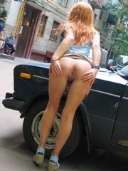 Russian girl without panty in the street