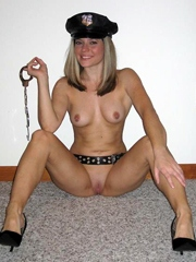 Shaved gf in police uniform teasing and..