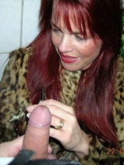 Redhead wife with round silicone..