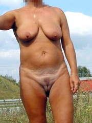Mature blonde wife shows off her big..