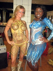 Girlfriends in bodypaint showing their..