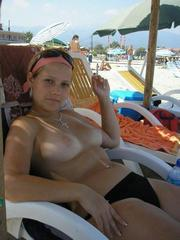 Cute girlfriend on vacation shows her..